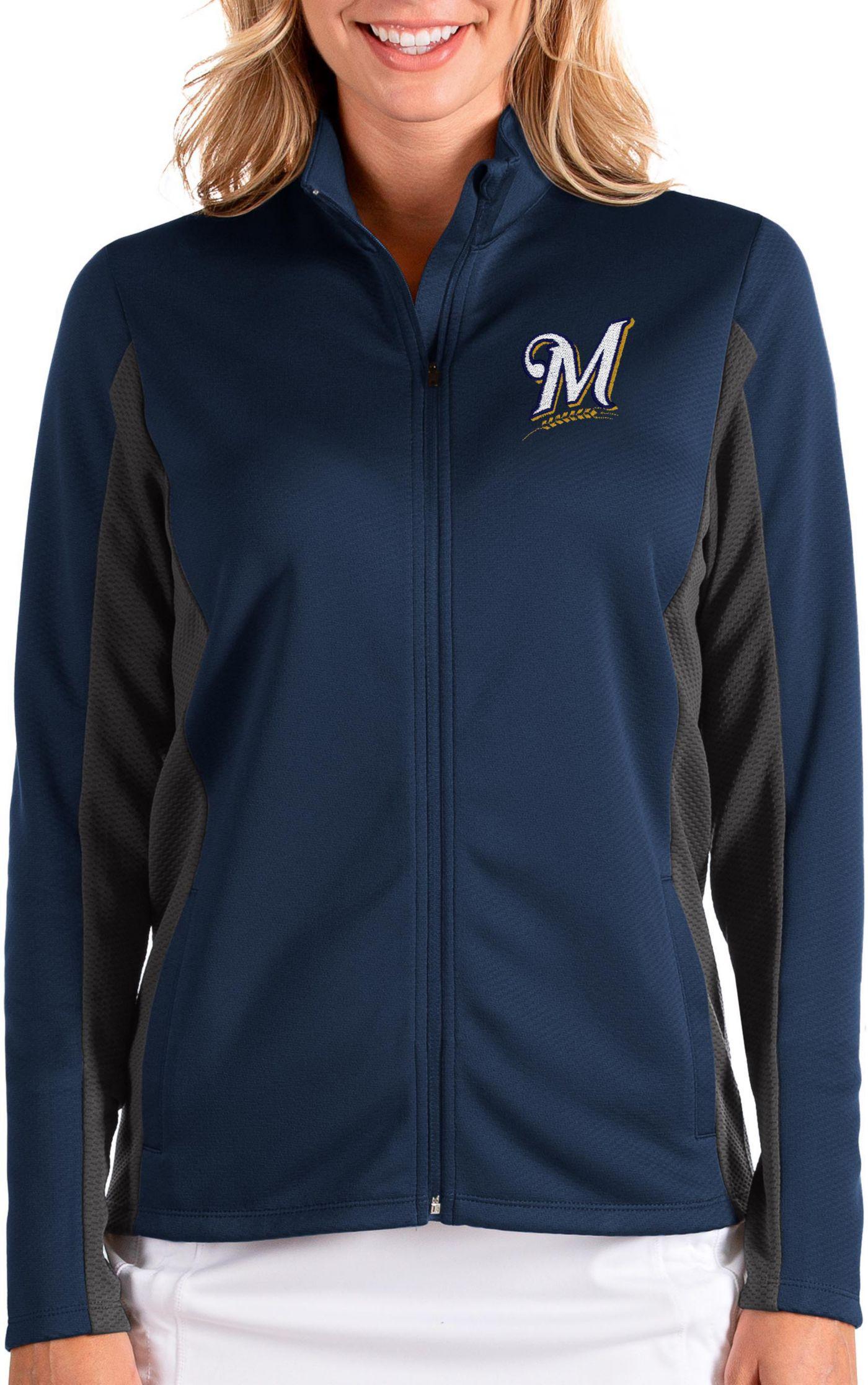 Antigua Women's Milwaukee Brewers Navy Passage Full-Zip Jacket