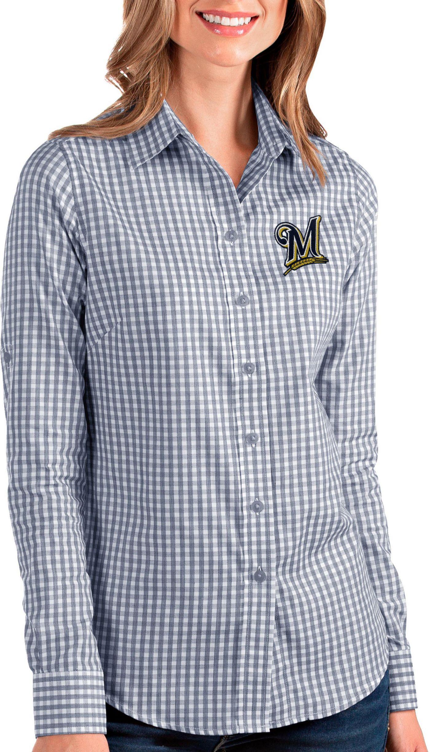 Antigua Women's Milwaukee Brewers Structure Button-Up Navy Long Sleeve Shirt