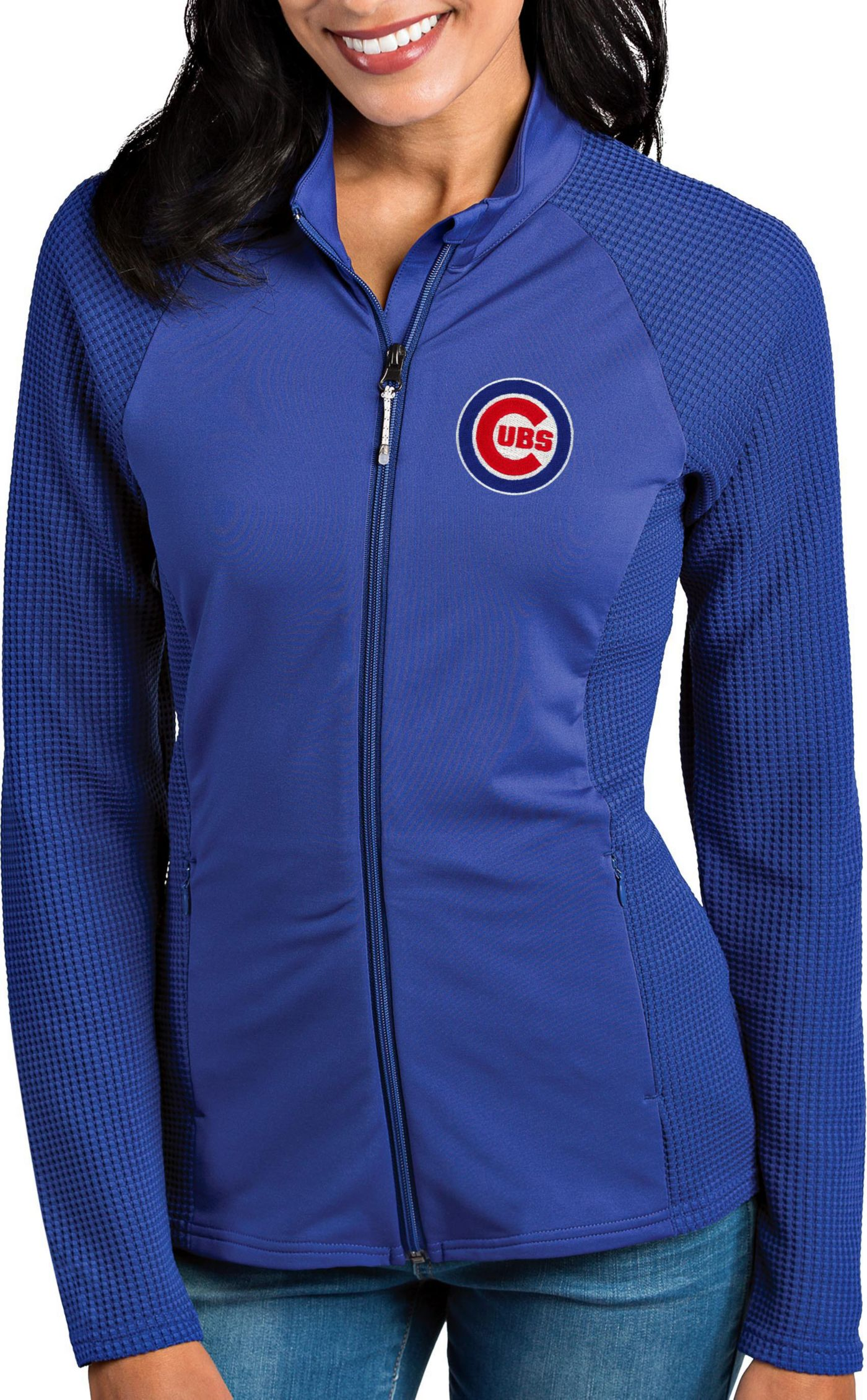 Antigua Women's Chicago Cubs Royal Sonar Performance Quarter-Zip Pullover