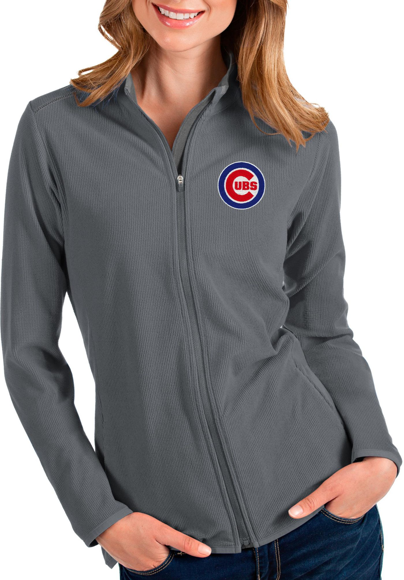 Antigua Women's Chicago Cubs Grey Glacier Full-Zip Jacket