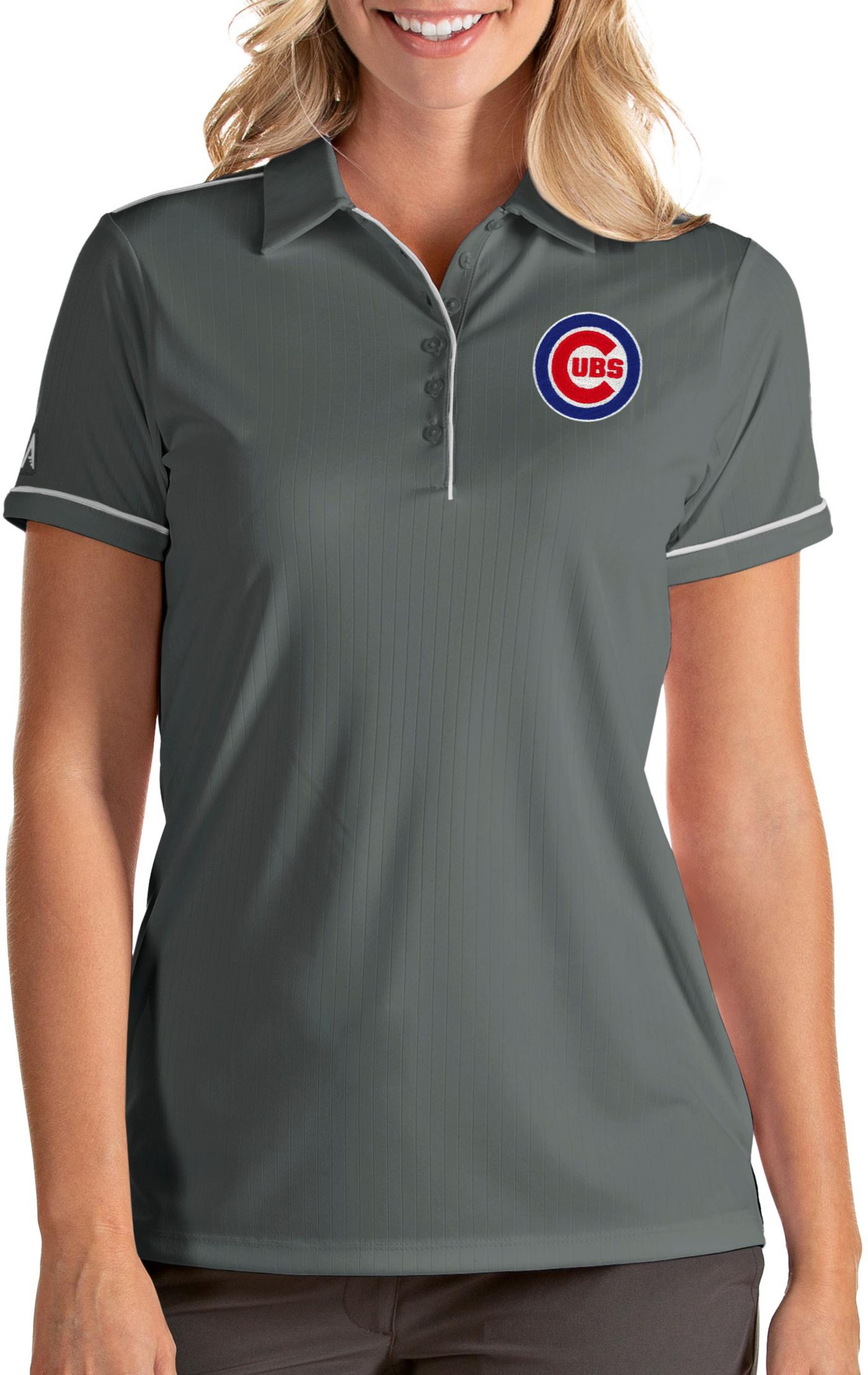 Antigua Women's Chicago Cubs Salute Grey Performance Polo