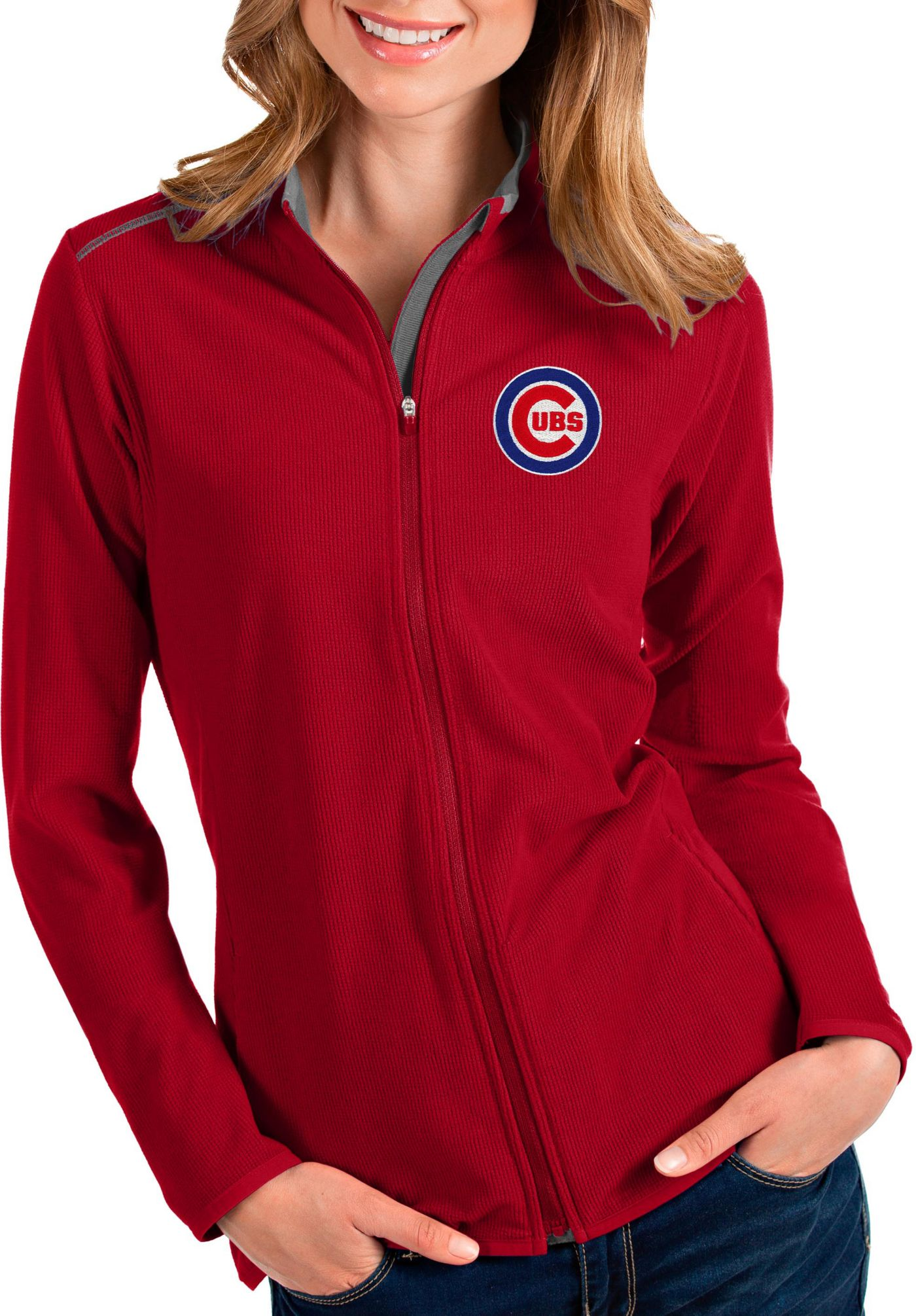 Antigua Women's Chicago Cubs Red Glacier Quarter-Zip Pullover