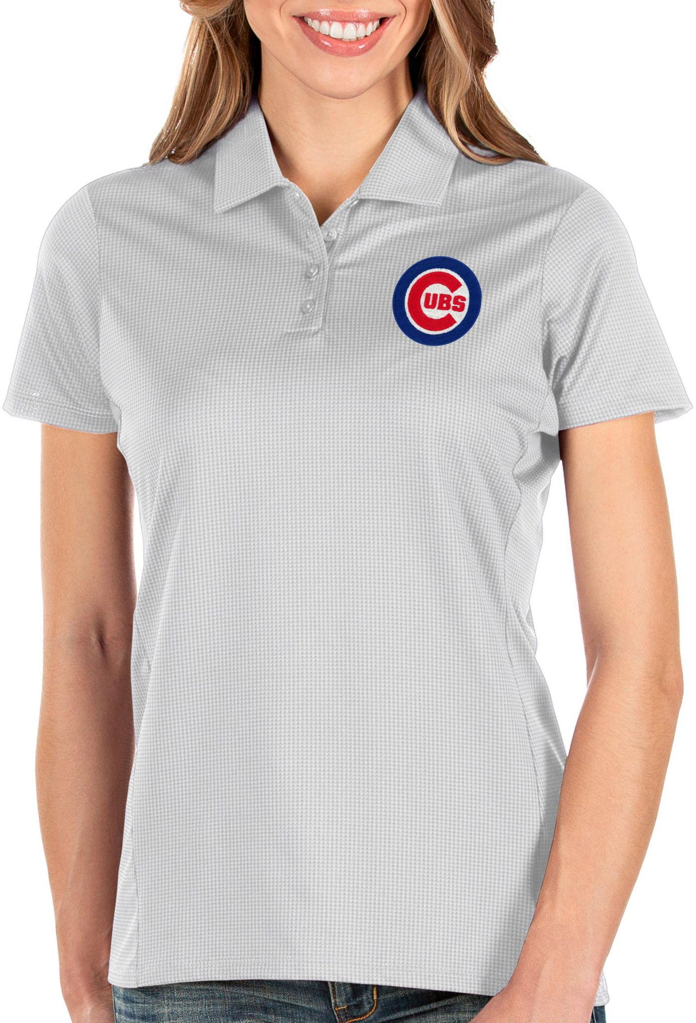 Antigua Women's Chicago Cubs White Balance Polo