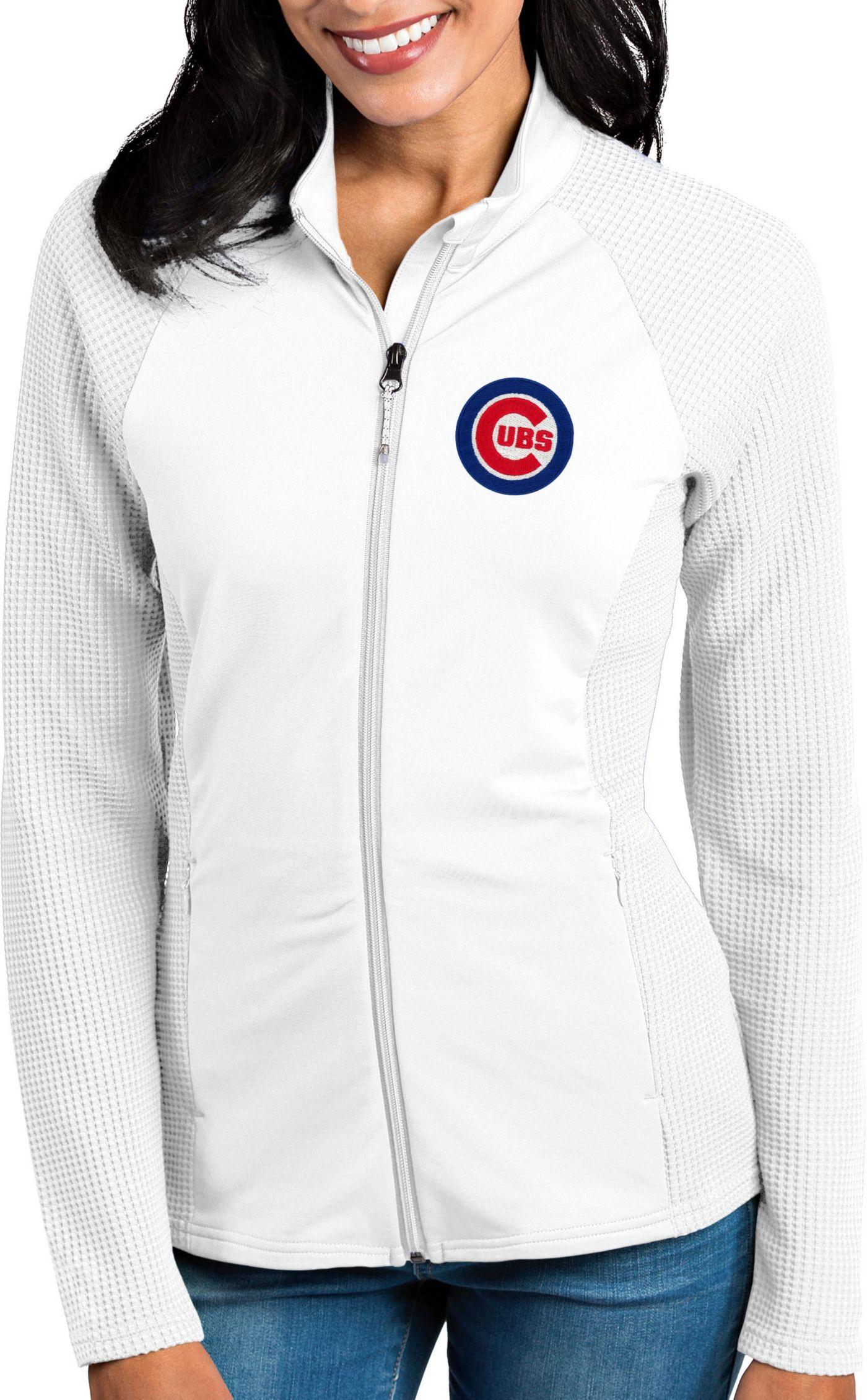 Antigua Women's Chicago Cubs White Sonar Performance Quarter-Zip Pullover