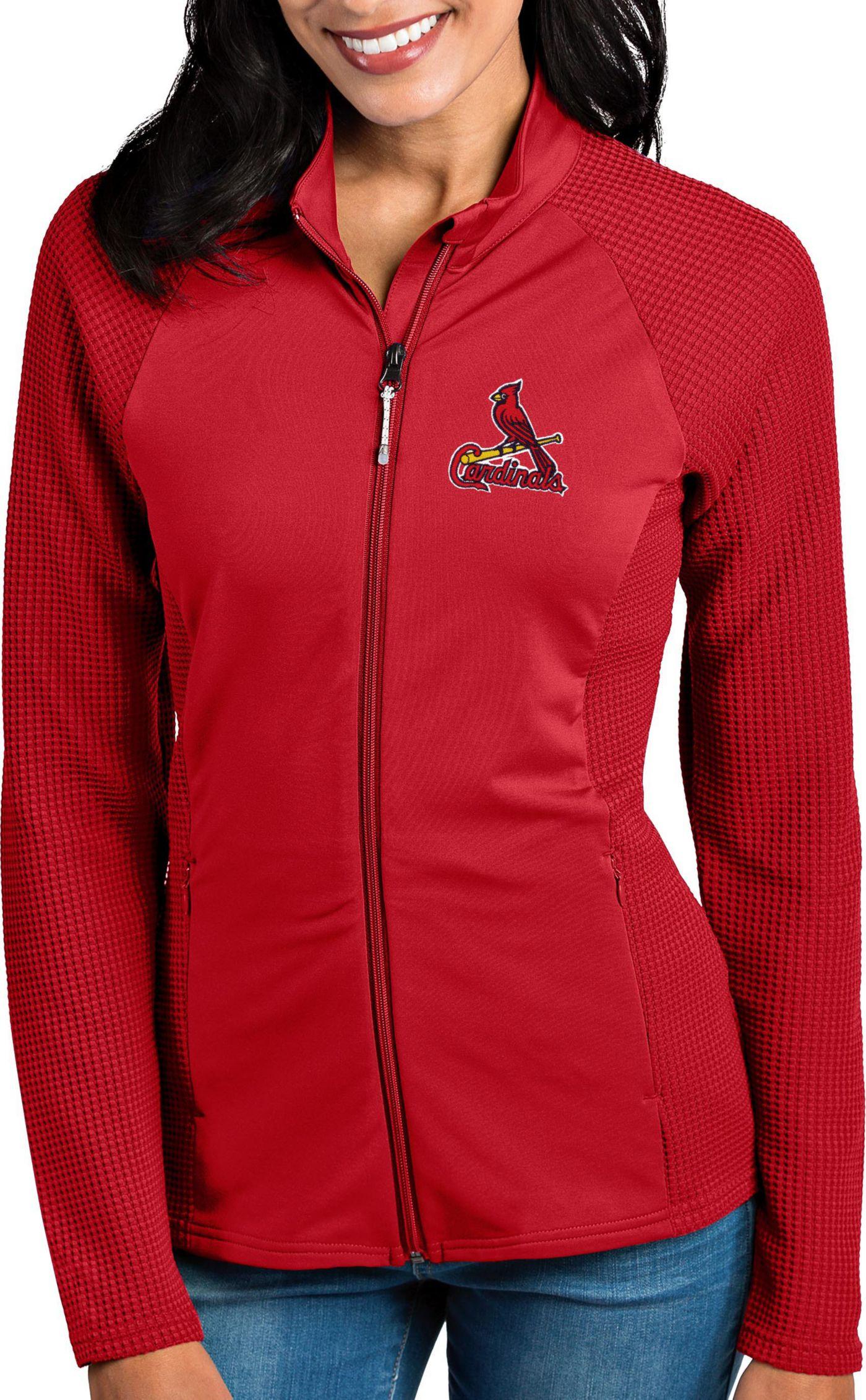 Antigua Women's St. Louis Cardinals Red Sonar Performance Quarter-Zip Pullover