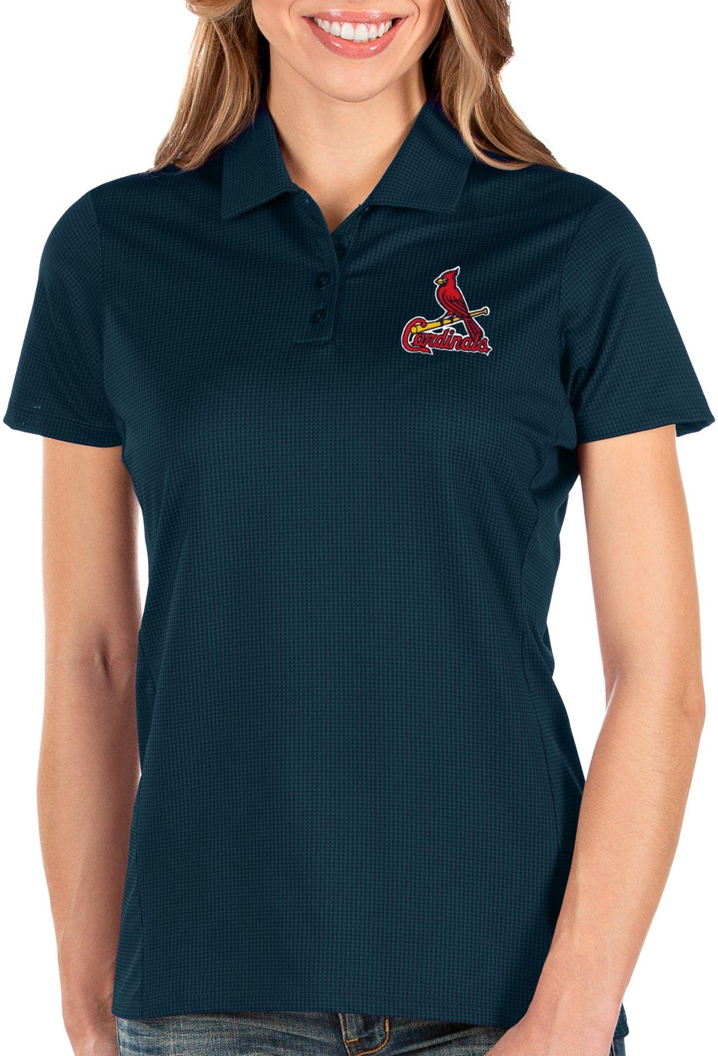 Antigua Women's St. Louis Cardinals Navy Balance Polo