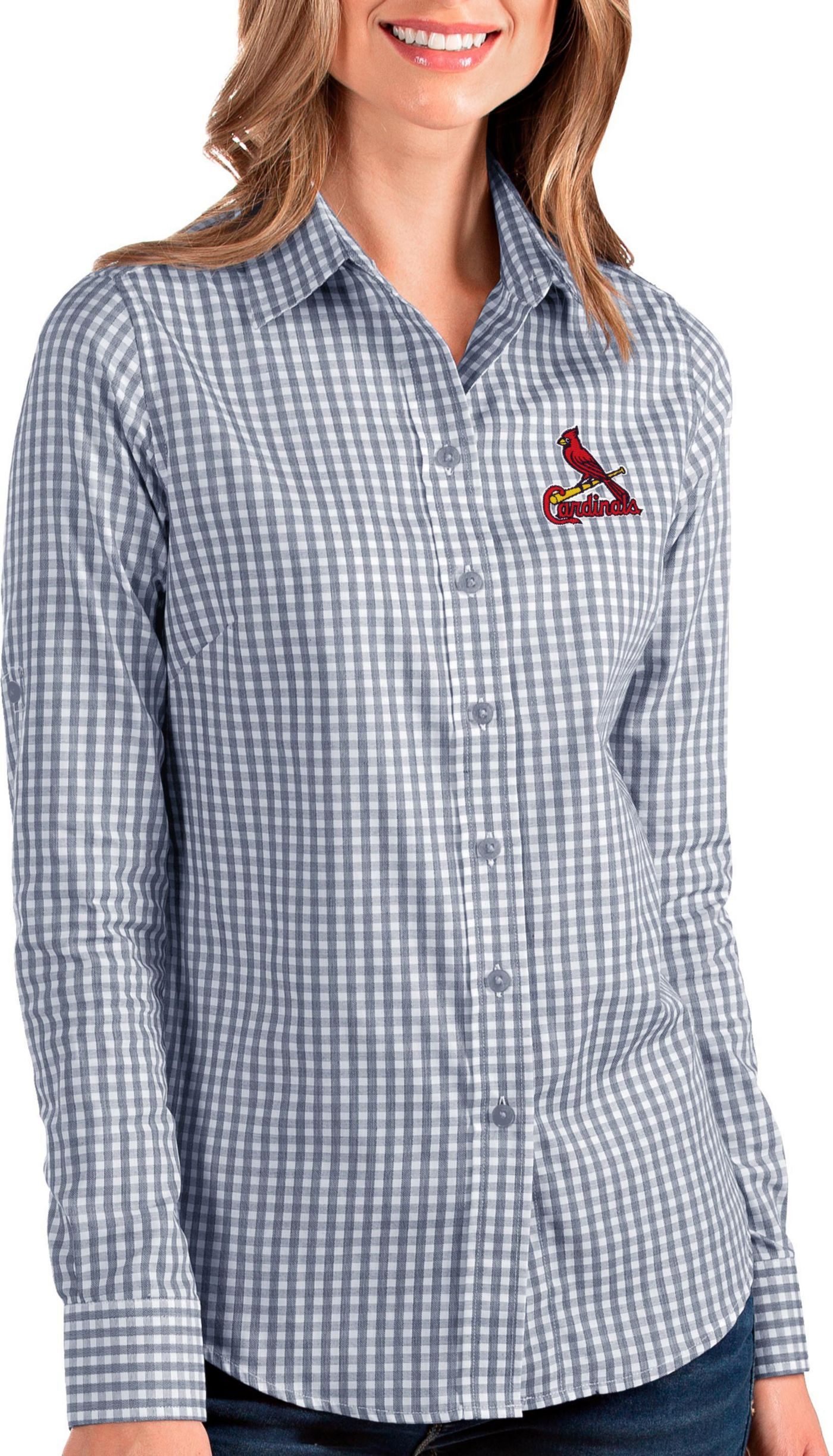 Antigua Women's St Louis Cardinals Structure Button-Up Navy Long Sleeve Shirt