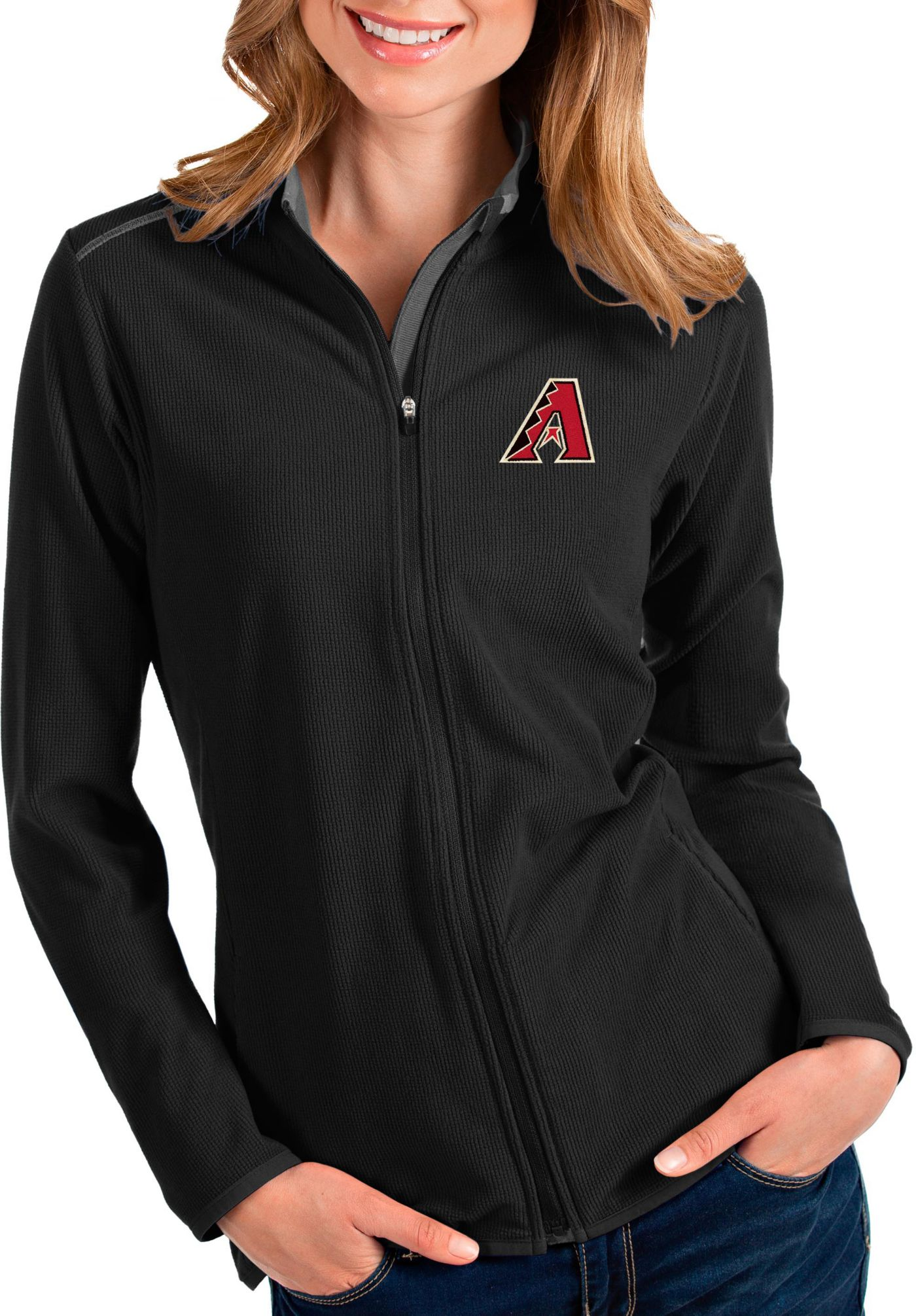 Antigua Women's Arizona Diamondbacks Black Glacier Quarter-Zip Pullover