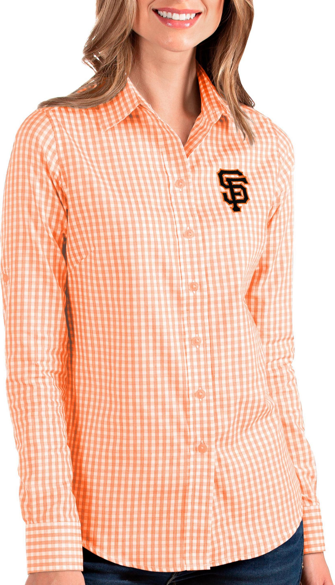 Antigua Women's San Francisco Giants Structure Button-Up Orange Long Sleeve Shirt
