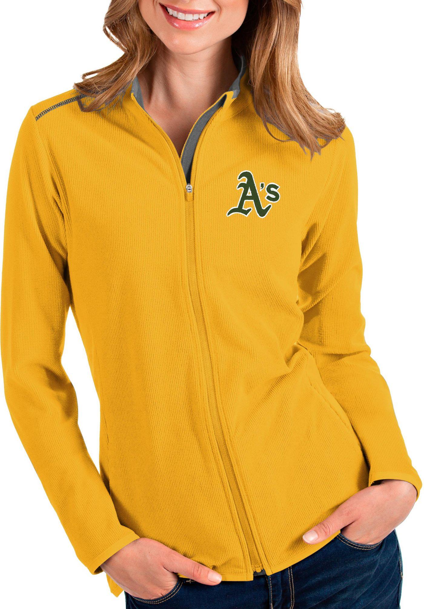 Antigua Women's Oakland Athletics Gold Glacier Quarter-Zip Pullover