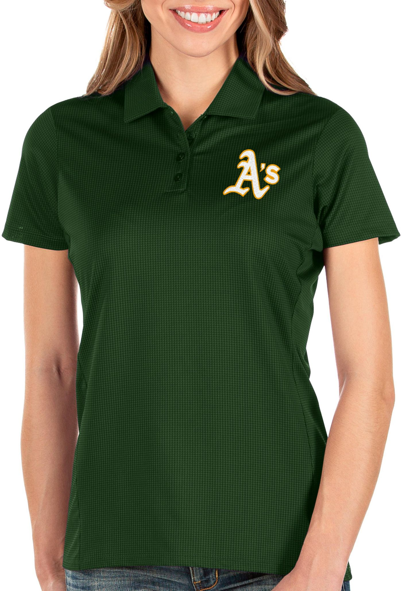 Antigua Women's Oakland Athletics Green Balance Polo
