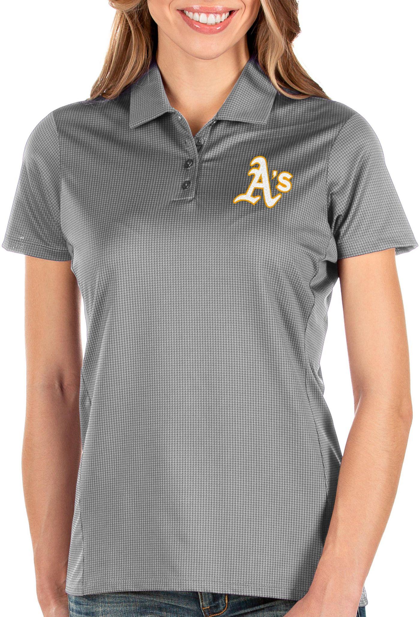 Antigua Women's Oakland Athletics Grey Balance Polo