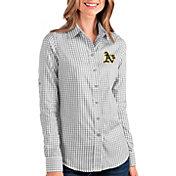 Antigua Women's Oakland A's Structure Button-Up Grey Long Sleeve Shirt