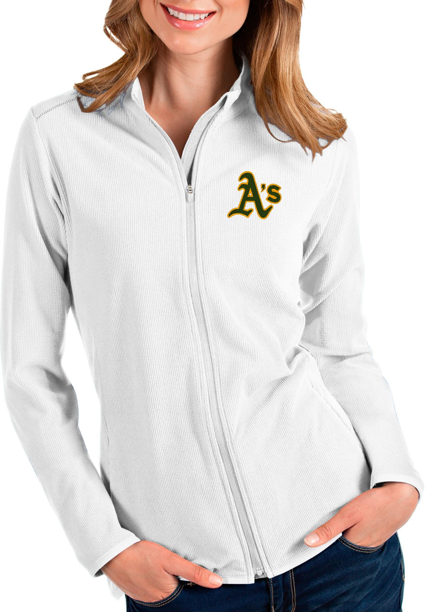Antigua Women's Oakland Athletics White Glacier Quarter-Zip Pullover