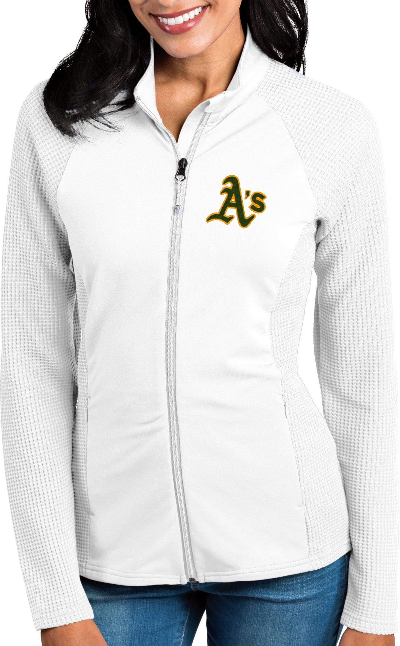 Antigua Women's Oakland Athletics White Sonar Performance Quarter-Zip Pullover