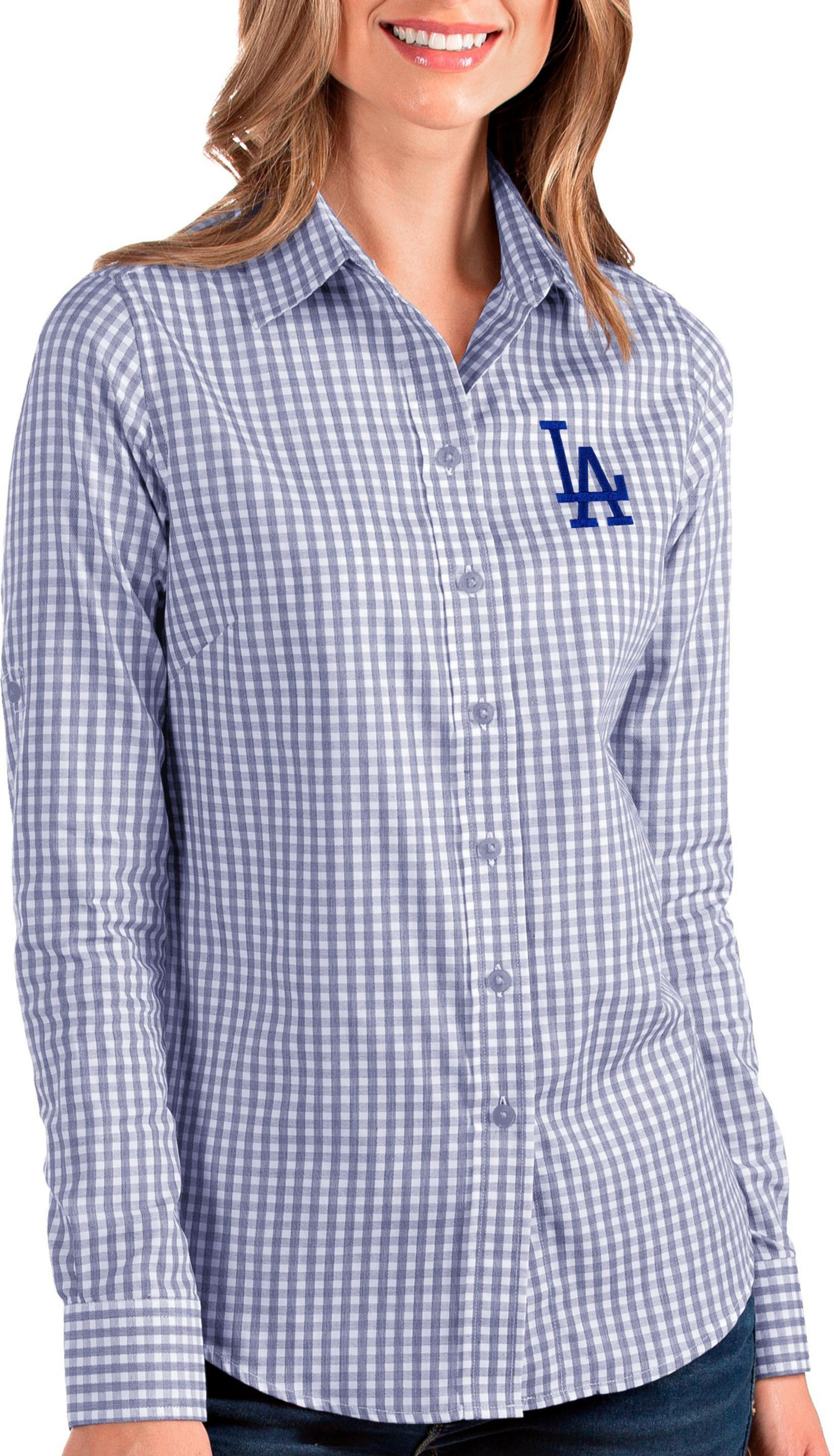 Antigua Women's Los Angeles Dodgers Structure Button-Up Royal Long Sleeve Shirt