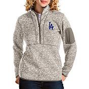 Antigua Women's Los Angeles Dodgers Oatmeal Fortune Half-Zip Pullover