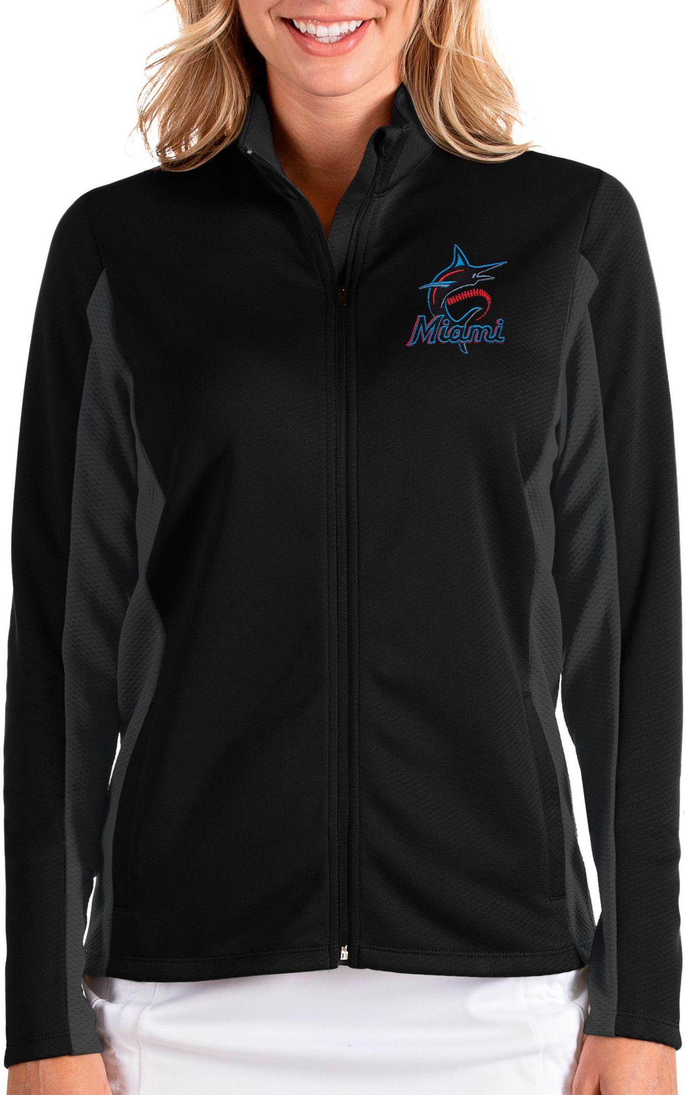 Antigua Women's Miami Marlins Black Passage Full-Zip Jacket