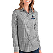 Antigua Women's Miami Marlins Structure Button-Up Black Long Sleeve Shirt