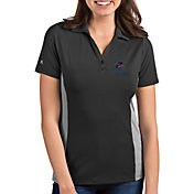 Antigua Women's Miami Marlins Venture Black Performance Polo