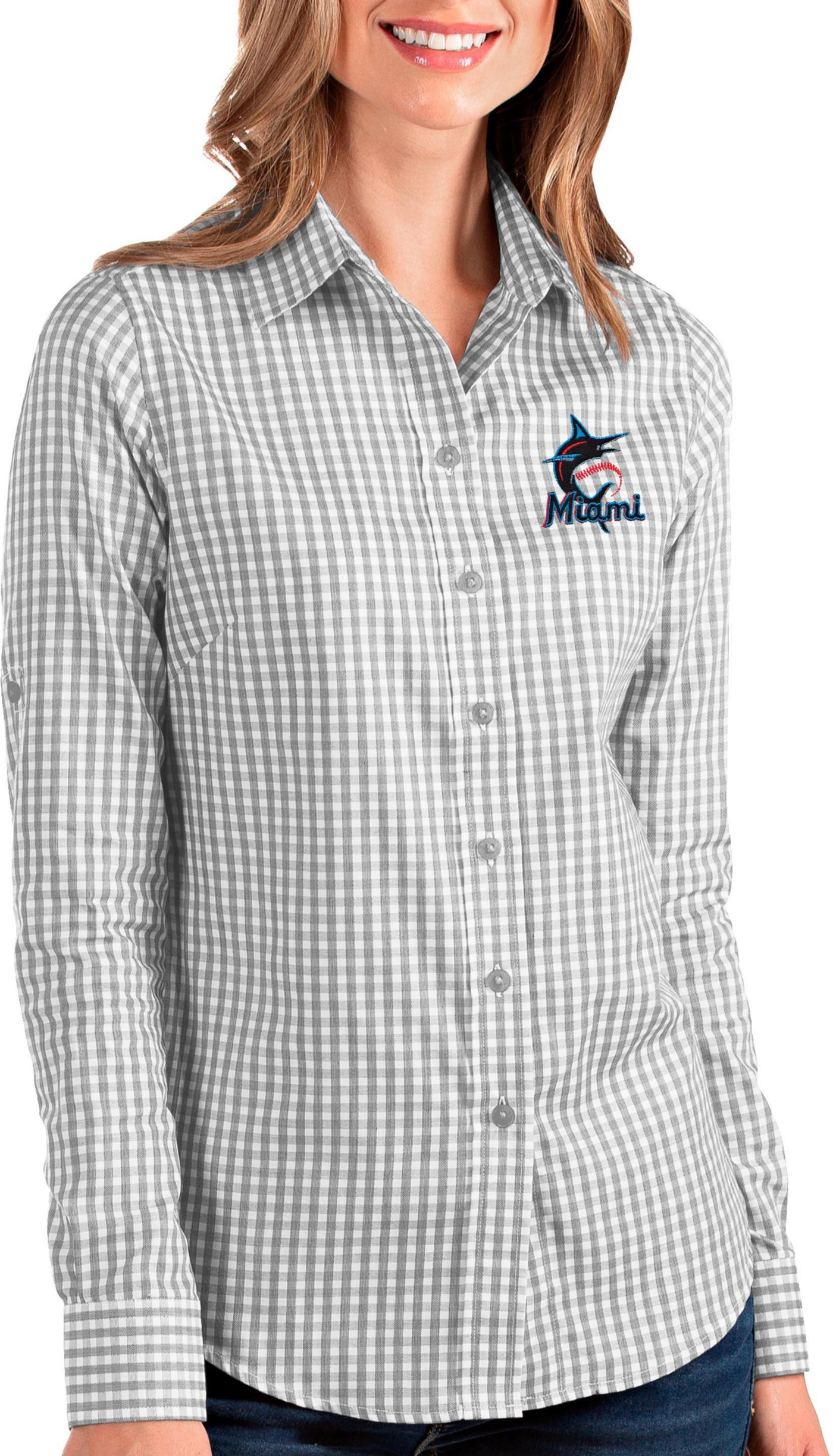 Antigua Women's Miami Marlins Structure Button-Up Grey Long Sleeve Shirt