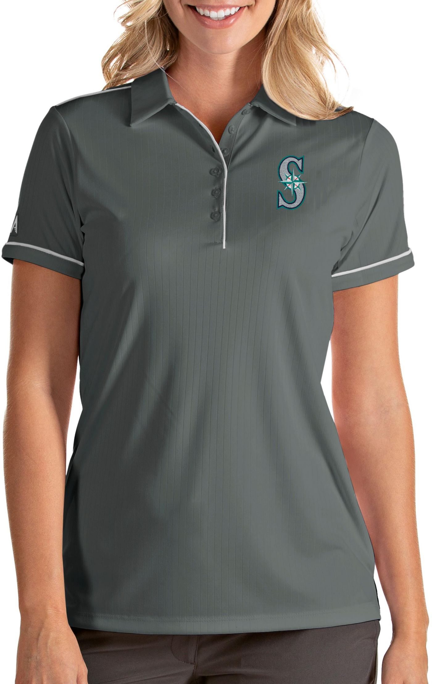 Antigua Women's Seattle Mariners Salute Grey Performance Polo