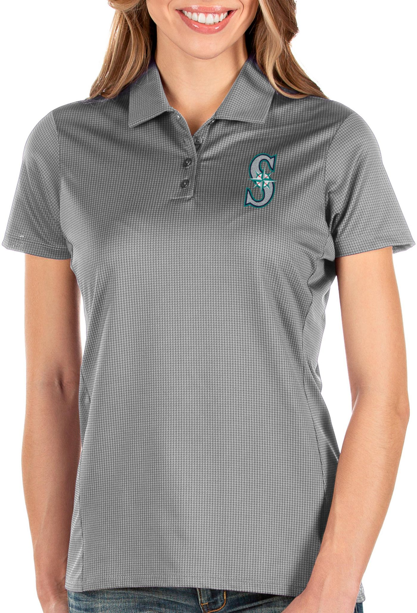 Antigua Women's Seattle Mariners Grey Balance Polo