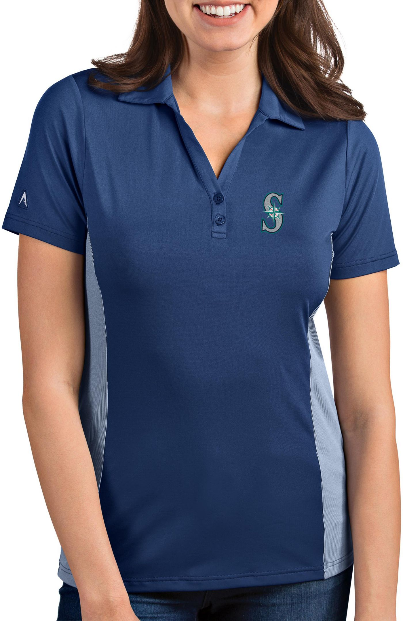 Antigua Women's Seattle Mariners Venture Navy Performance Polo