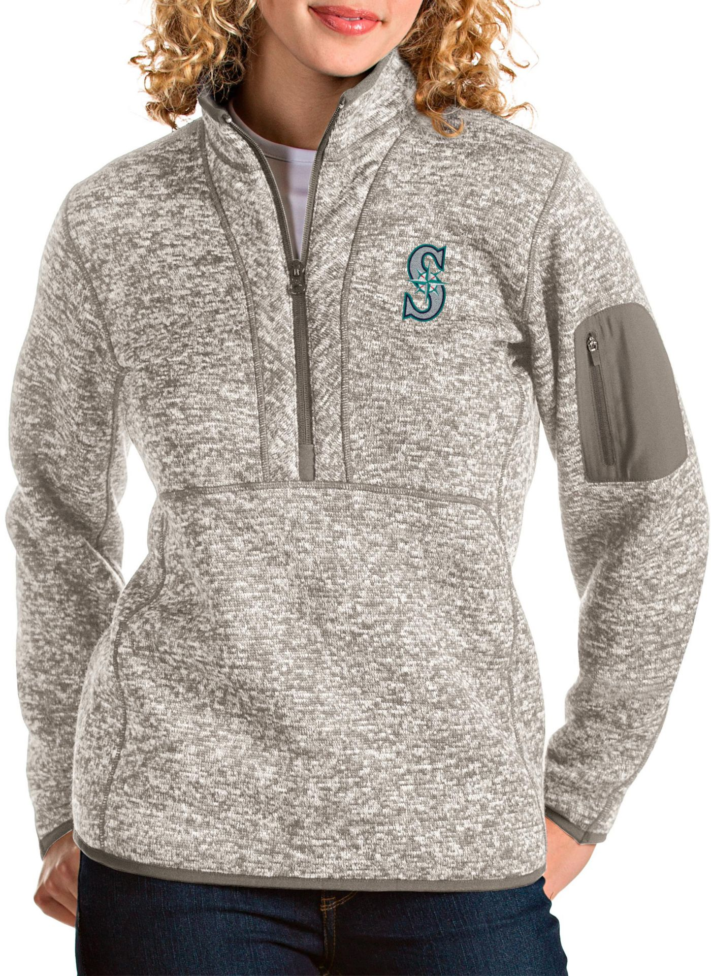 Antigua Women's Seattle Mariners Oatmeal Fortune Half-Zip Pullover