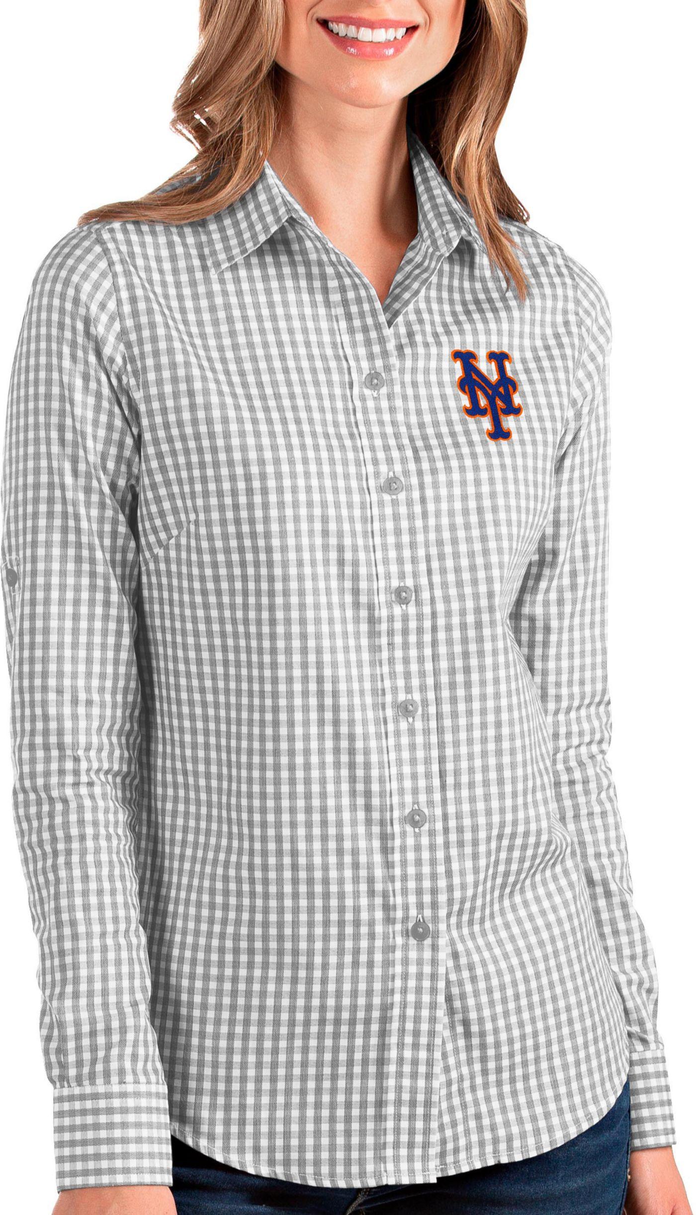 Antigua Women's New York Mets Structure Button-Up Grey Long Sleeve Shirt