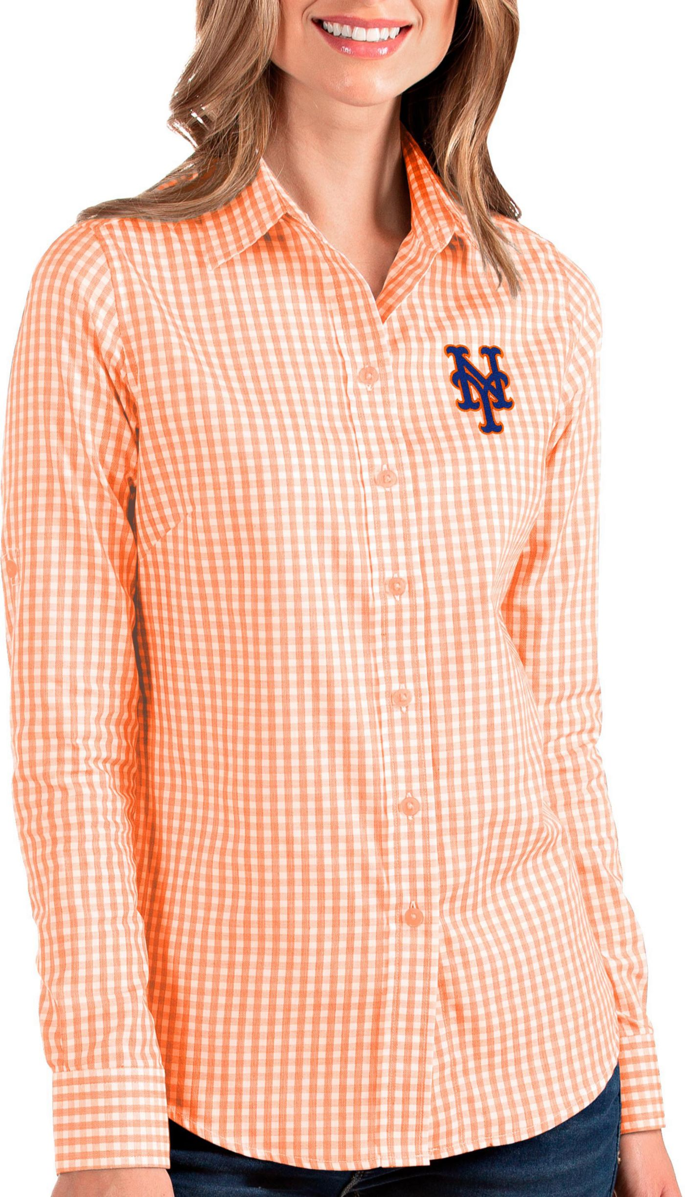 Antigua Women's New York Mets Structure Button-Up Orange Long Sleeve Shirt