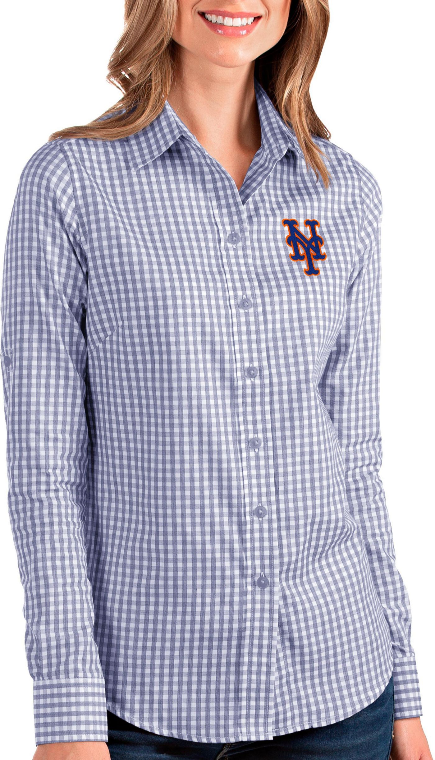 Antigua Women's New York Mets Structure Button-Up Royal Long Sleeve Shirt