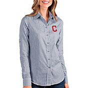 Antigua Women's Cleveland Indians Structure Button-Up Navy Long Sleeve Shirt