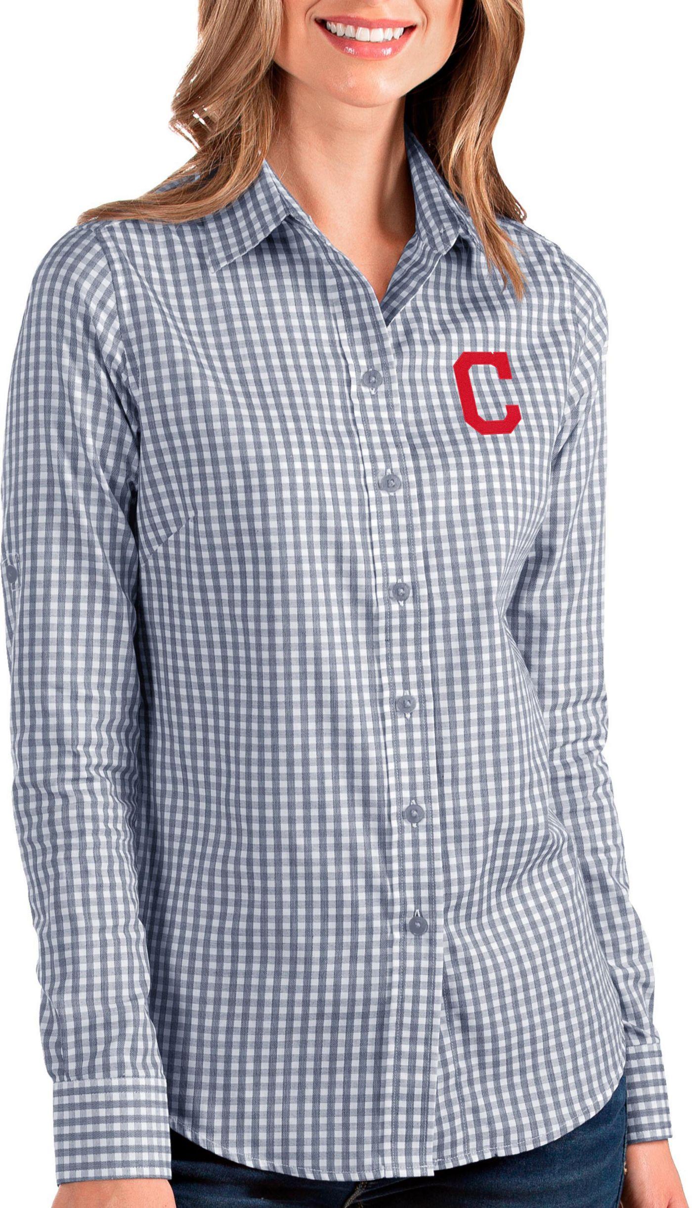 Antigua Women's Cleveland Indians Structure Button-Up Navy Long Sleeve Shirt