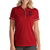 Antigua Women's Cleveland Indians Salute Red Performance Polo