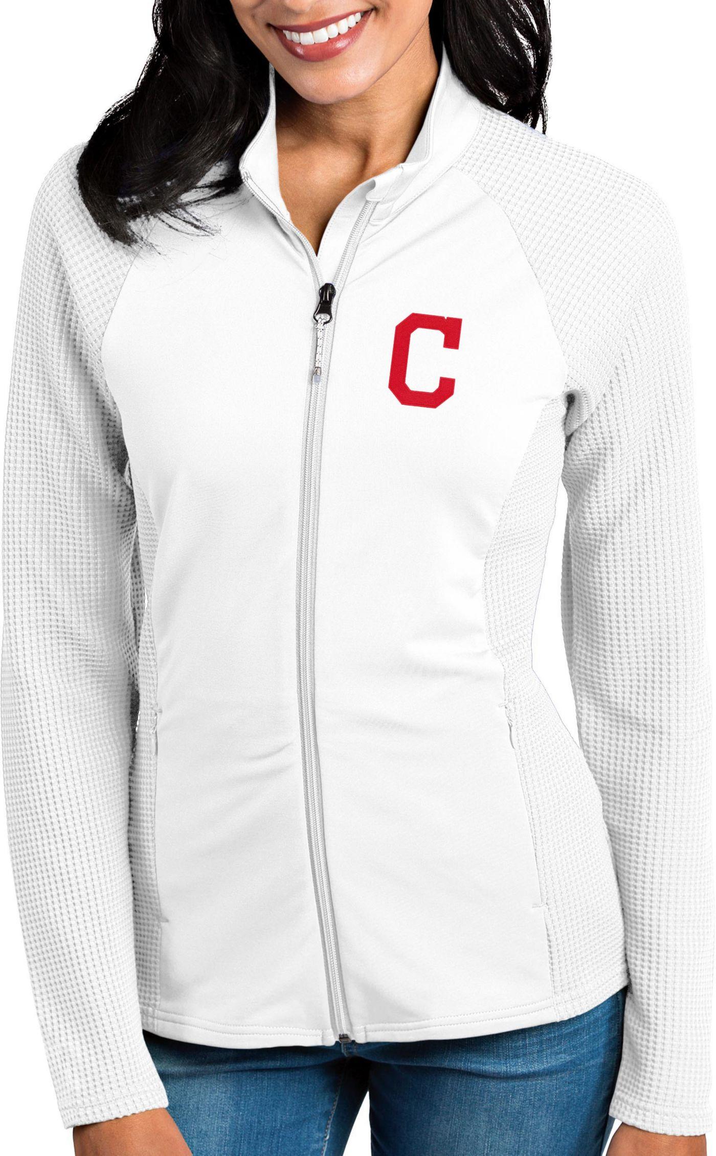 Antigua Women's Cleveland Indians White Sonar Performance Quarter-Zip Pullover
