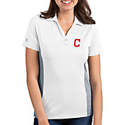 Antigua Women's Cleveland Indians Venture White Performance Polo