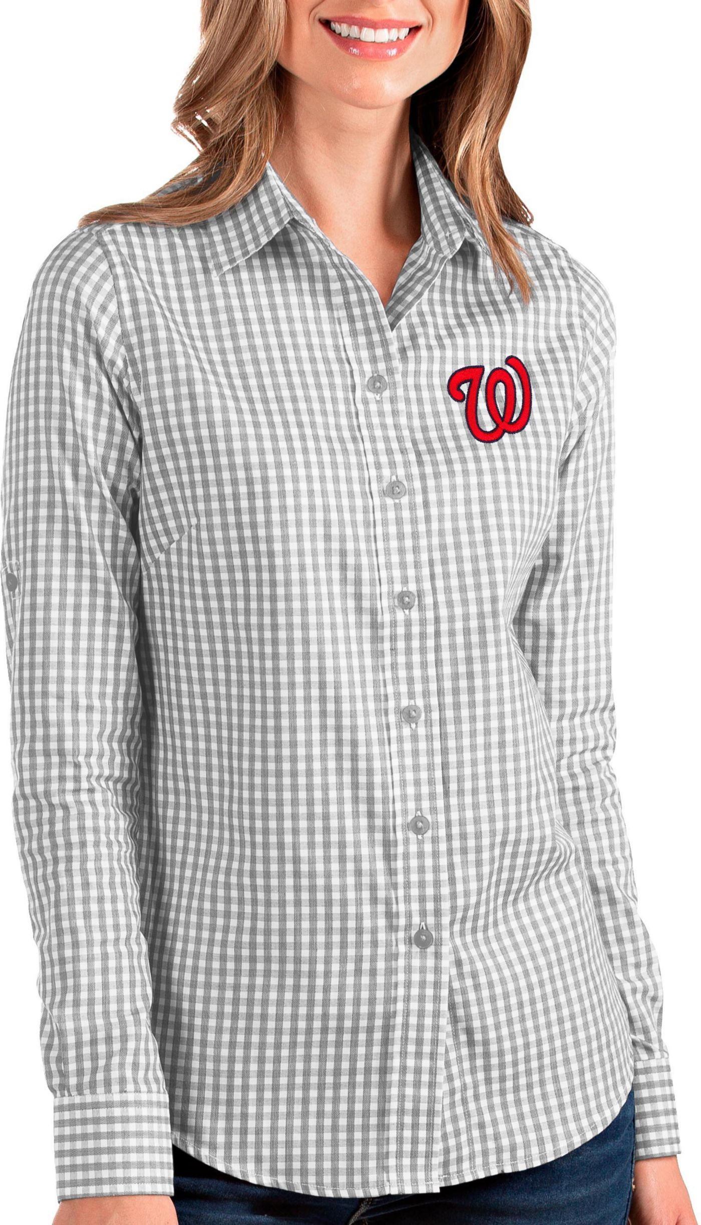 Antigua Women's Washington Nationals Structure Button-Up Grey Long Sleeve Shirt