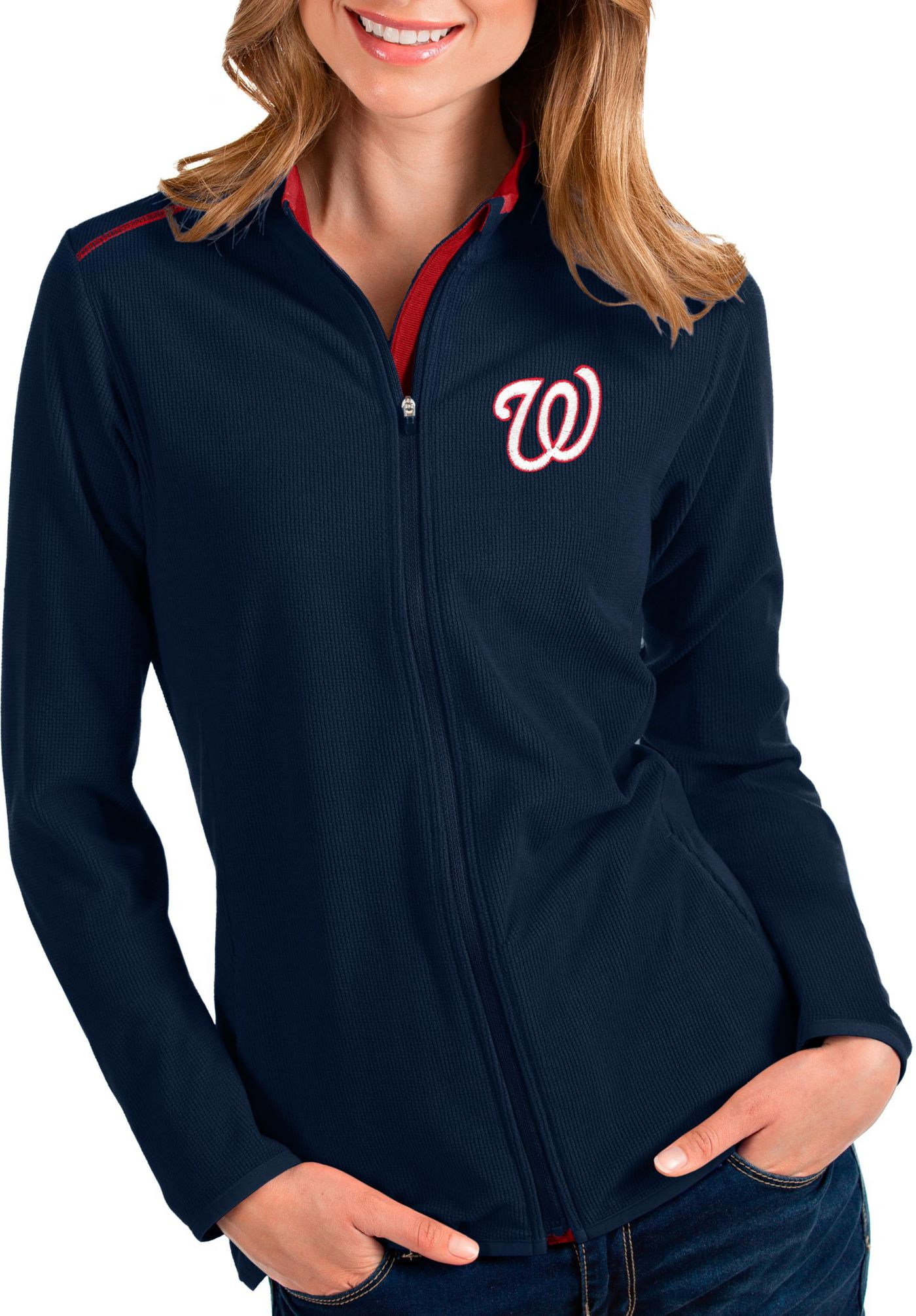 Antigua Women's Washington Nationals Navy Glacier Quarter-Zip Pullover