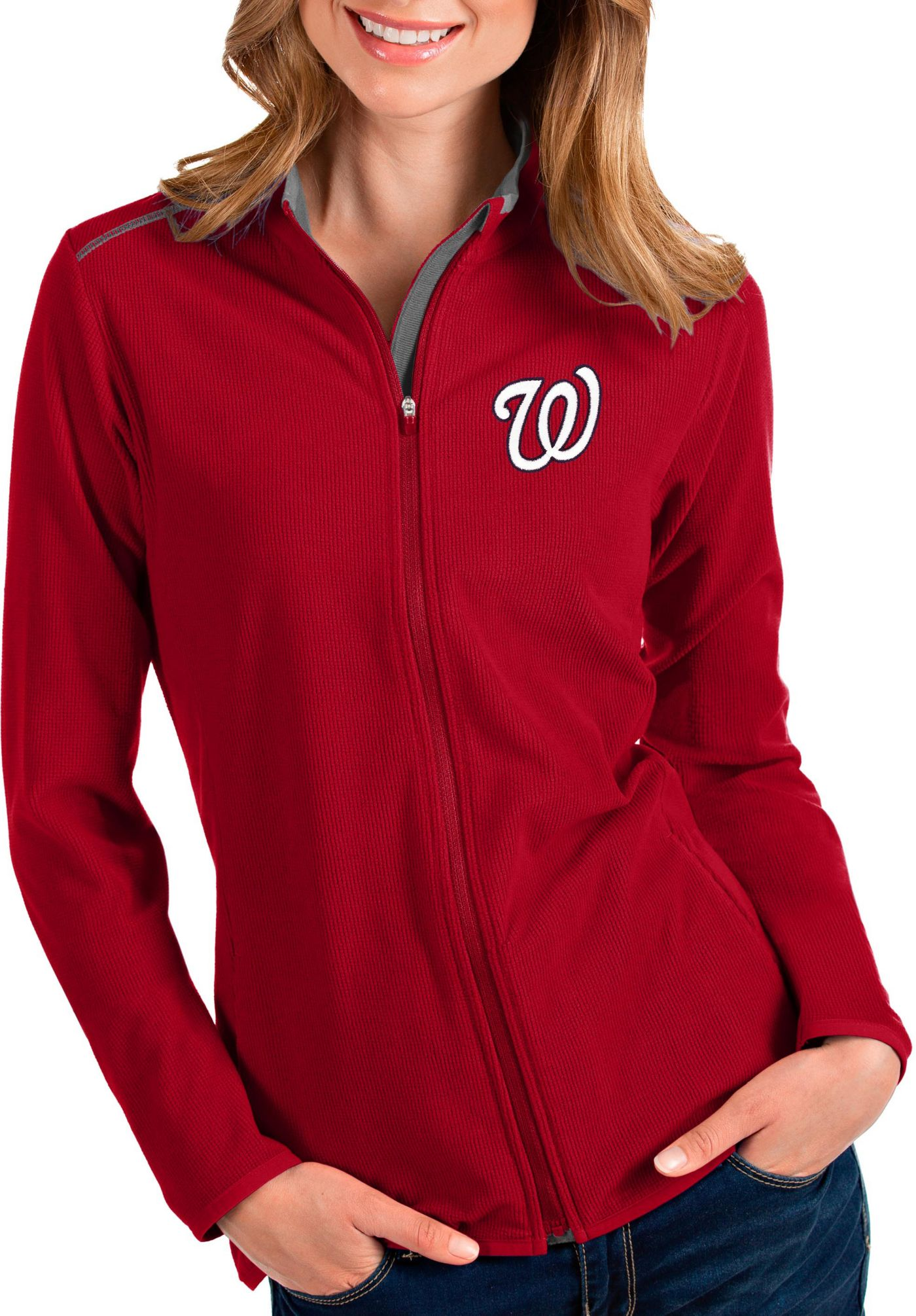 Antigua Women's Washington Nationals Red Glacier Full-Zip Jacket