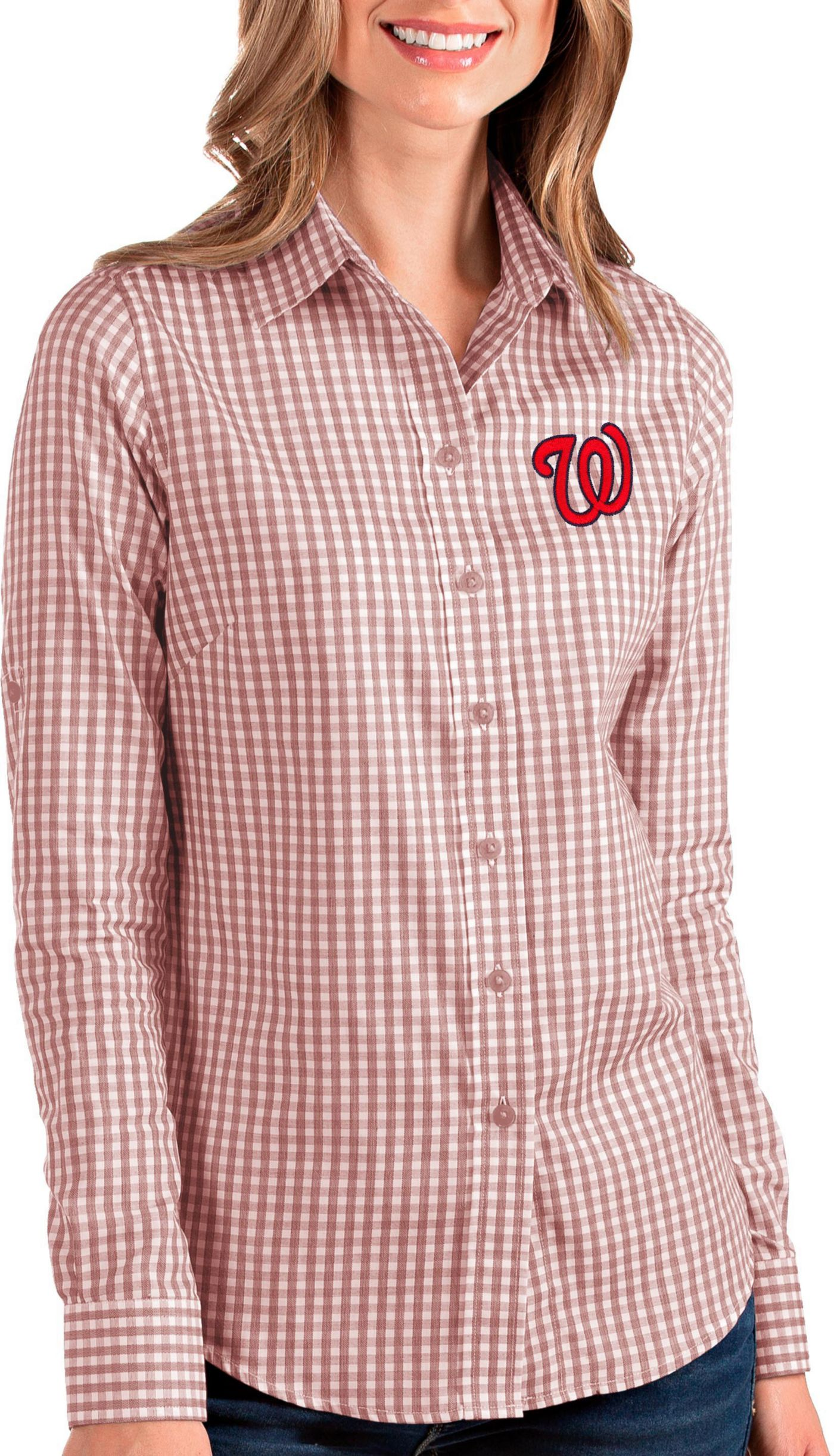 Antigua Women's Washington Nationals Structure Button-Up Red Long Sleeve Shirt
