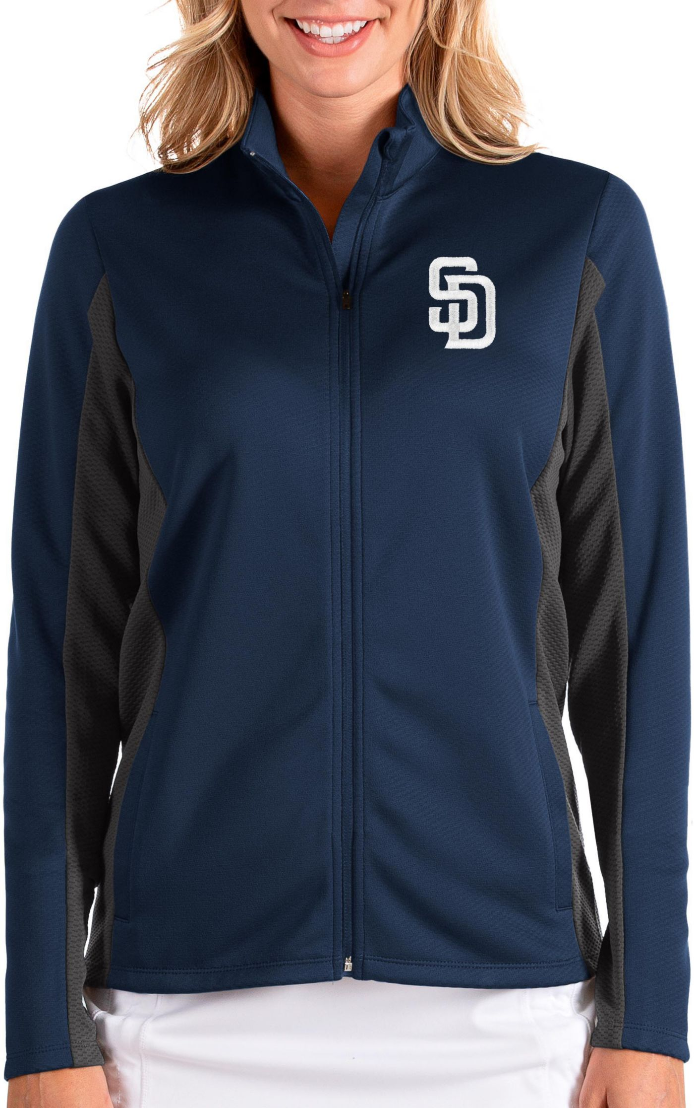 Antigua Women's San Diego Padres Navy Passage Full-Zip Jacket