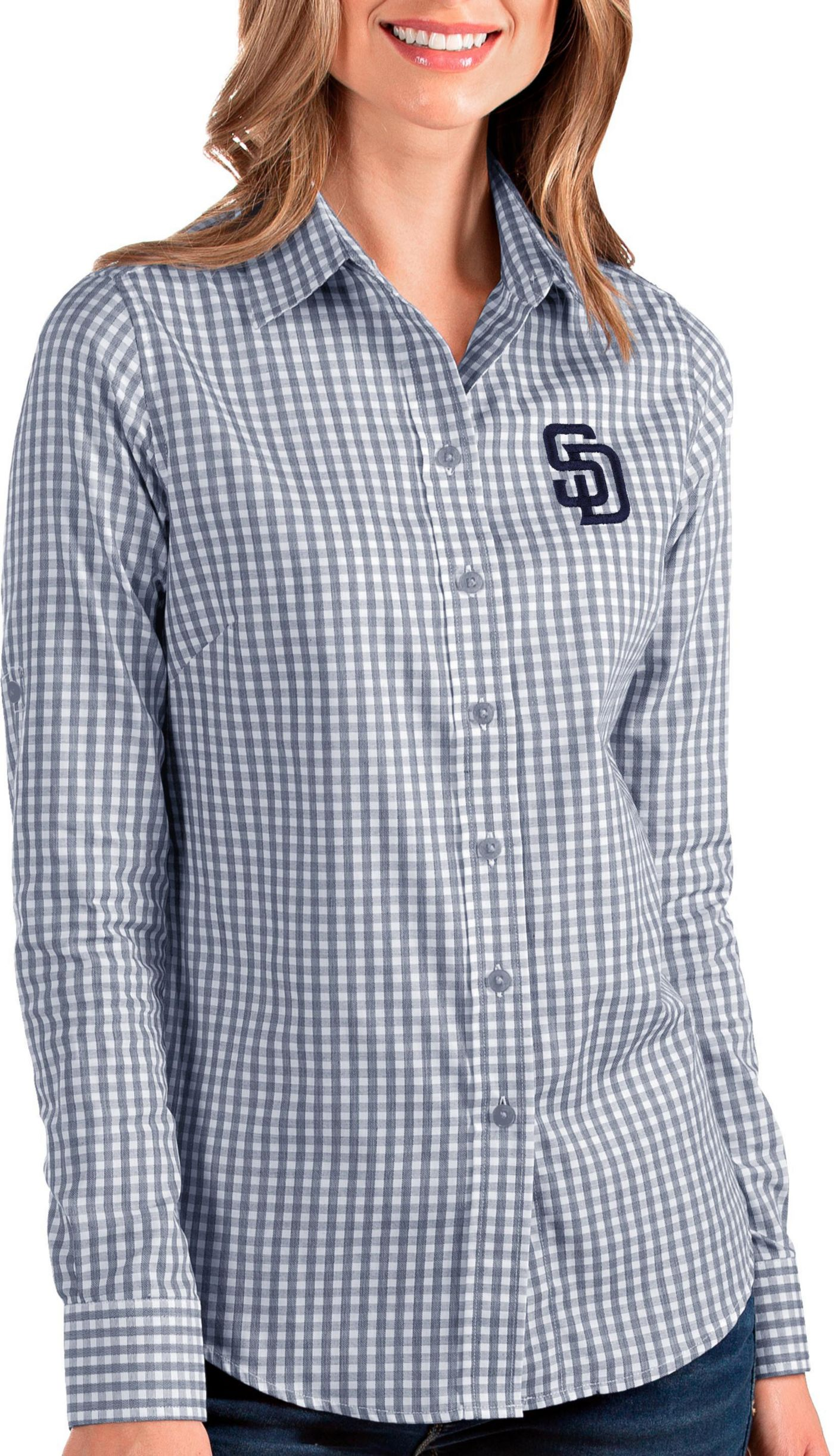Antigua Women's San Diego Padres Structure Button-Up Navy Long Sleeve Shirt