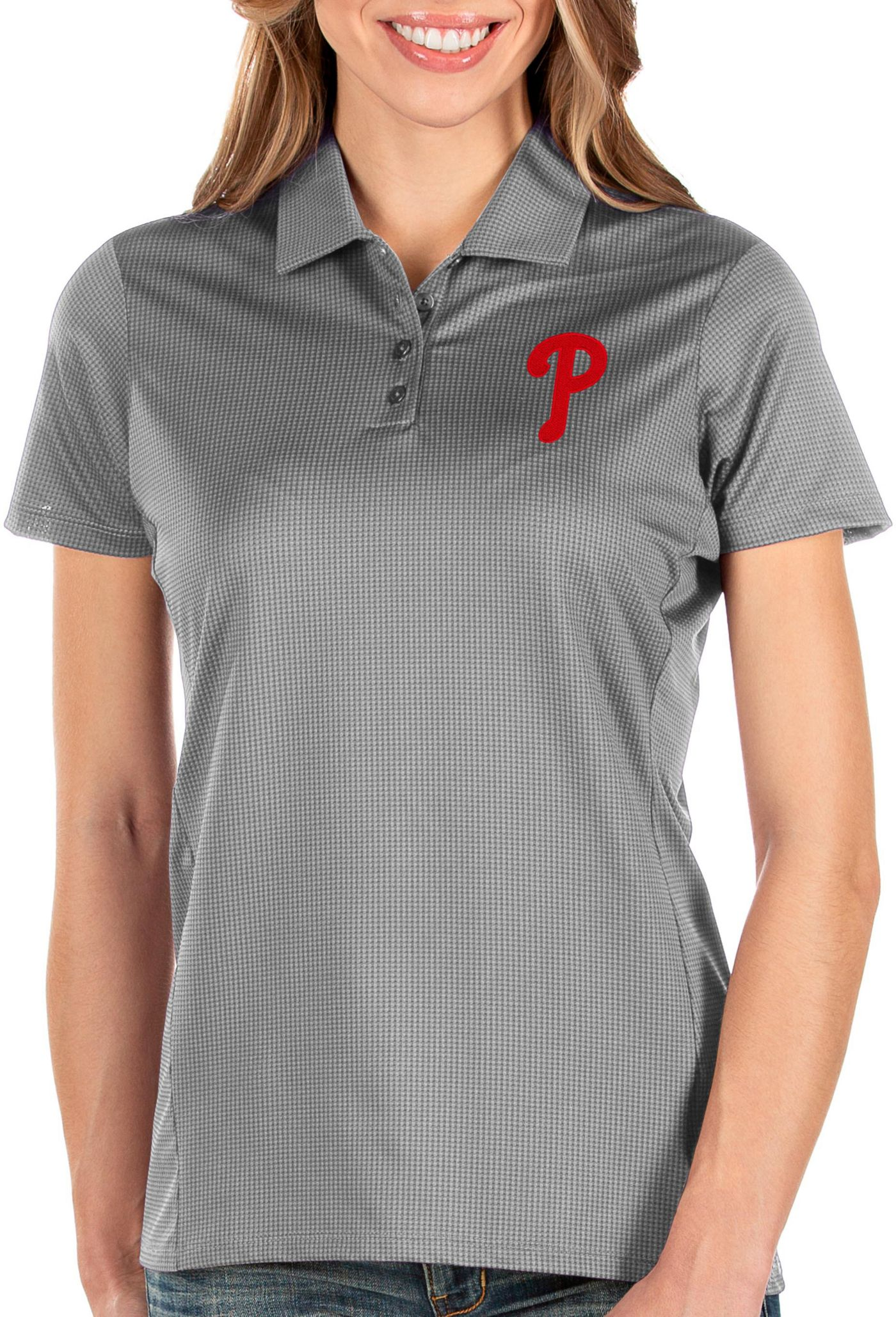 Antigua Women's Philadelphia Phillies Grey Balance Polo