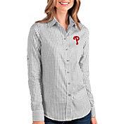 Antigua Women's Philadelphia Phillies Structure Button-Up Grey Long Sleeve Shirt