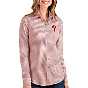 Antigua Women's Philadelphia Phillies Structure Button-Up Red Long Sleeve Shirt