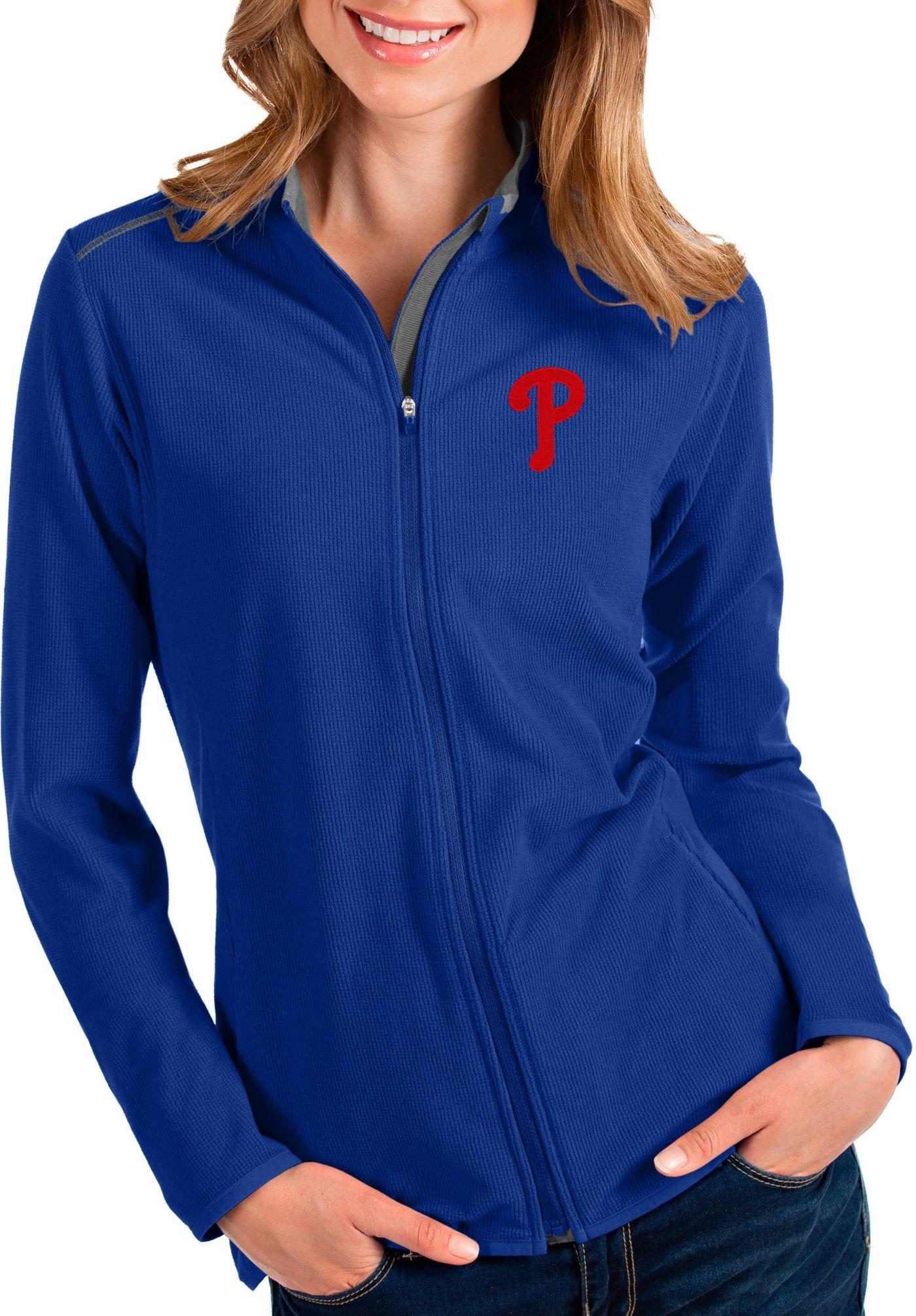 Antigua Women's Philadelphia Phillies Royal Glacier Full-Zip Jacket