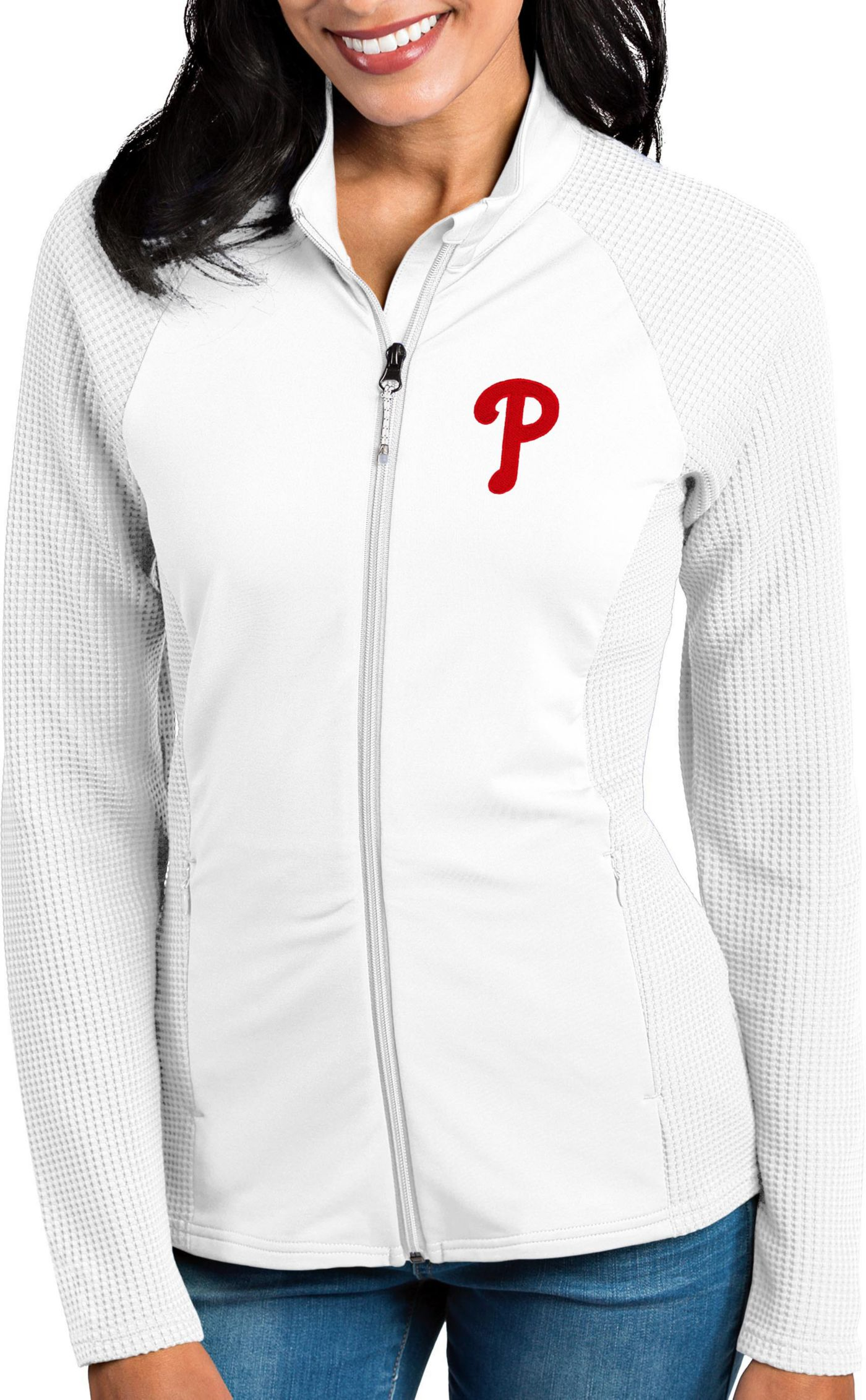 Antigua Women's Philadelphia Phillies White Sonar Performance Quarter-Zip Pullover