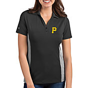 Antigua Women's Pittsburgh Pirates Venture Black Performance Polo