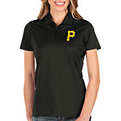 Antigua Women's Pittsburgh Pirates Black Balance Polo